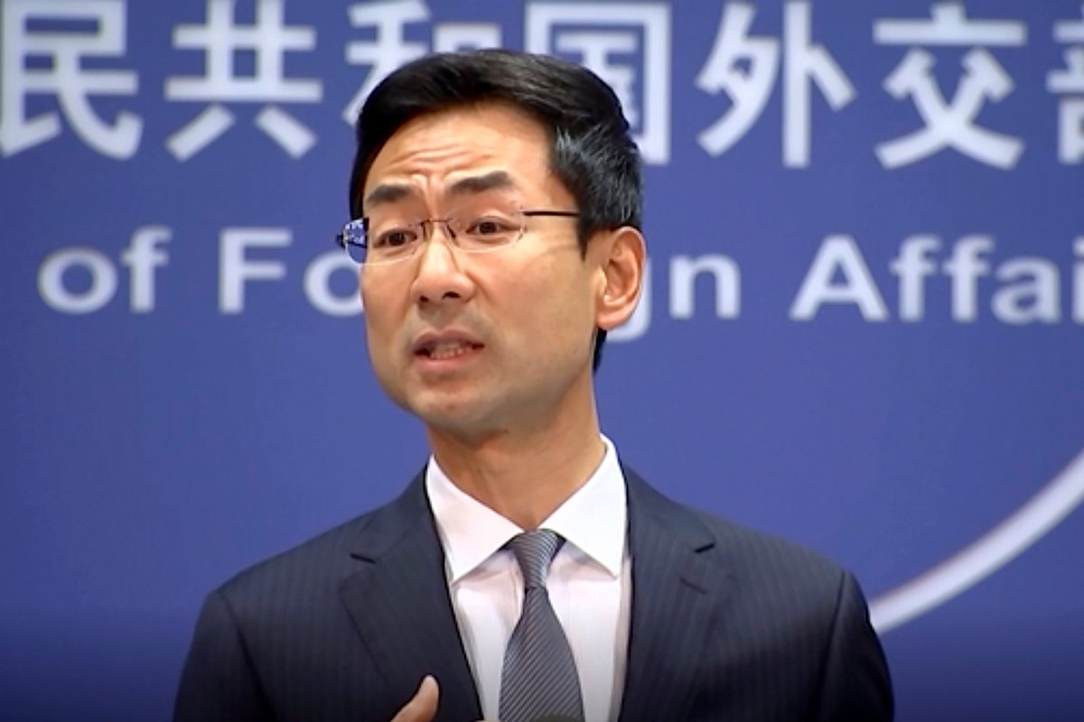 In this Wednesday, July 17, 2019 image from video, Chinese Foreign Ministry spokesman Geng Shuang.