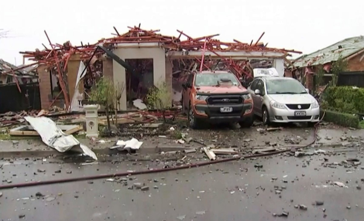 This imaged made from a video, shows a damaged home following a gas explosion in Christchurch, New Zealand Friday, July 19, 2019.