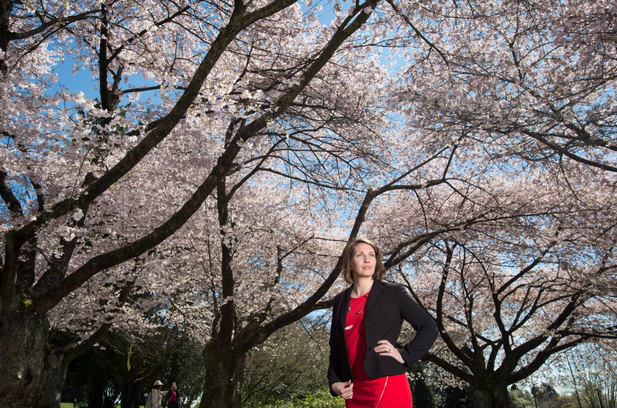 Julia Gartley poses for a photo in Vancouver, Friday, April 12, 2019.