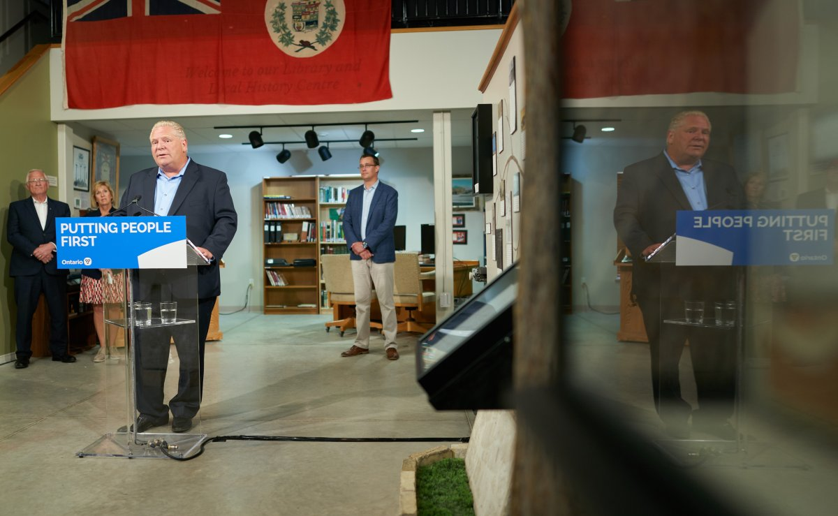 Premier Doug Ford speaks during a funding announcement for rural broadband in Lucan, Ont., Tuesday, July 23, 2019.