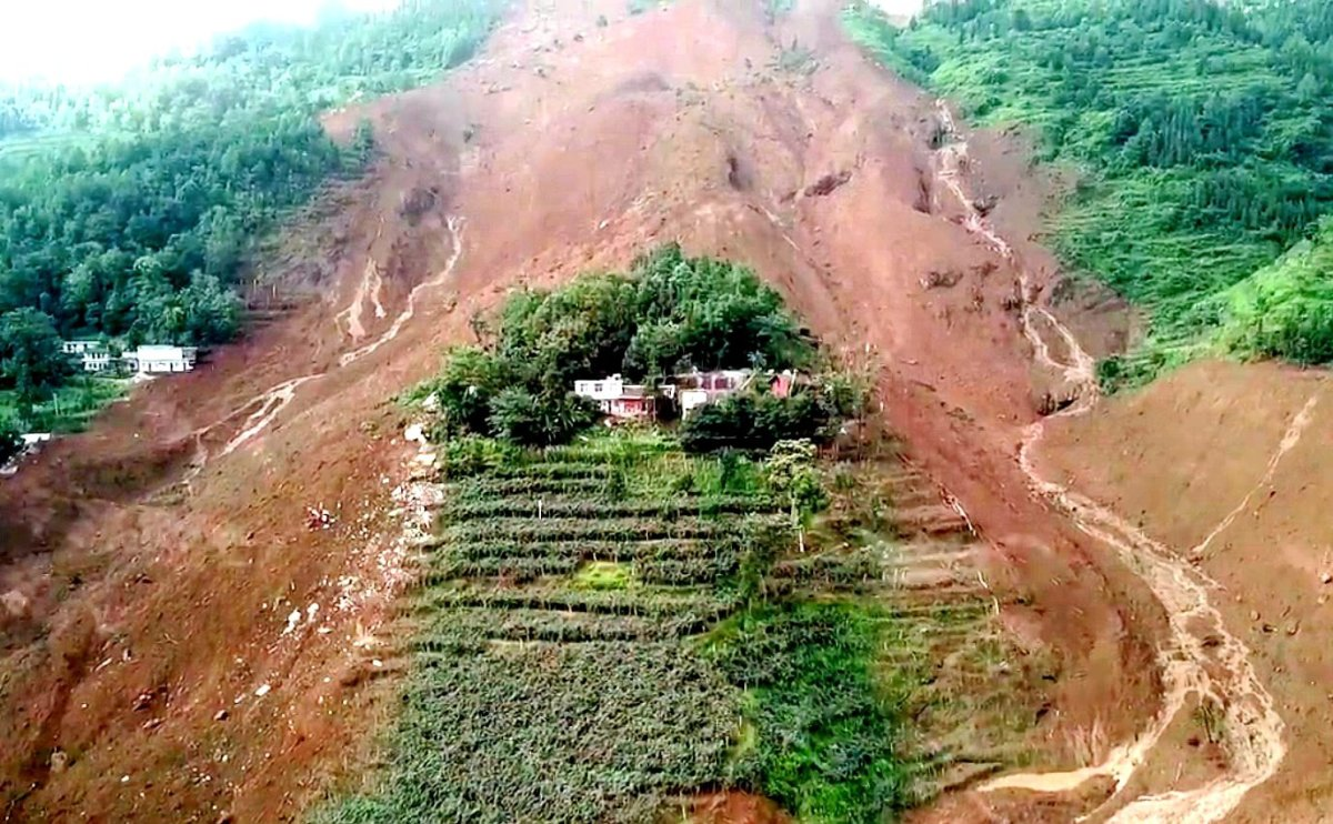 A view of the landslide in Pingdi village in Shuicheng county in Guizhou province, China, 24 July 24, 2019.
