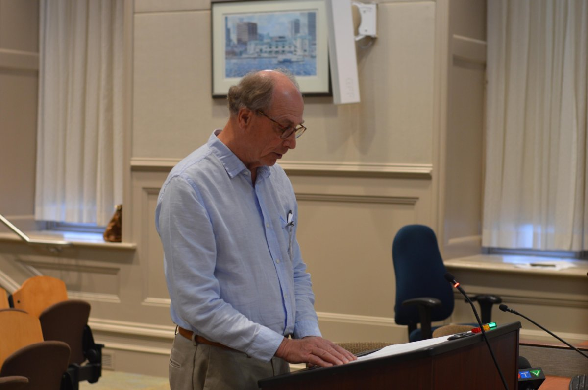Bill Stewart of Neighbours Speak presents to Halifax and West Community Council on July 9, 2019.