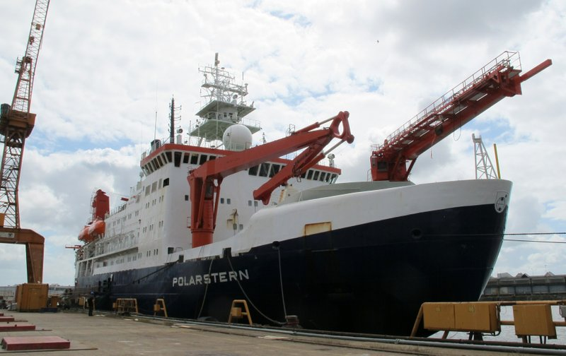 The German Arctic research vessel Polarstern is docked for maintenance in Bremerhaven, Germany, Wednesday, July 3, 2019. Scientists from 17 nations are preparing for a year-long mission to the central Arctic to study the impact that climate change is having on the frigid far north of the planet. Mission leader Markus Rex said that researchers plan to anchor the German icebreaker RV Polarstern to a large floe and set up camp on the ice as the sea freezes around them, conducting experiments throughout the Arctic winter.