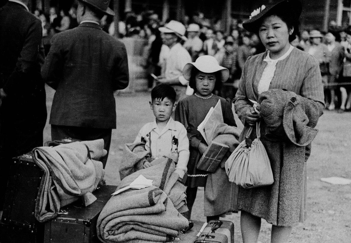 Relocation of Japanese-Canadians to camps in the interior of British Columbia .