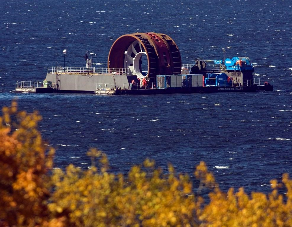 A tidal power turbine, built for Nova Scotia Power, is towed in the Bedford Basin in Halifax on Oct. 26, 2009.