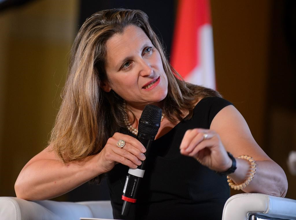 Minister of Foreign Affairs Chrystia Freeland speaks during a panel at the Ukraine Reform Conference in Toronto on Wednesday, July 3, 2019.
