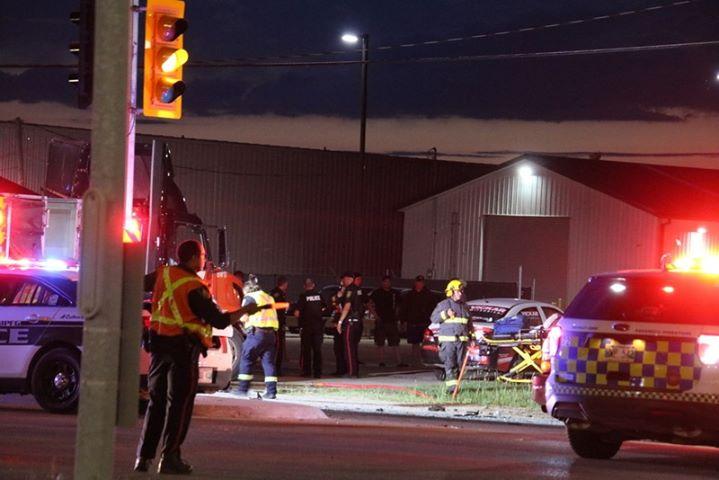 The accident scene at Dugald Road and Mazenod Road.