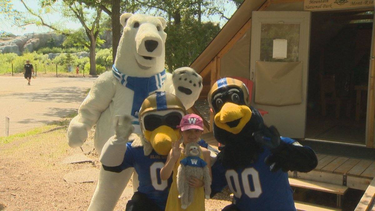 Winnipeg Blue Bombers mascots pose with a child at the Assiniboine Park Zoo on Sunday, July 7, 2019.