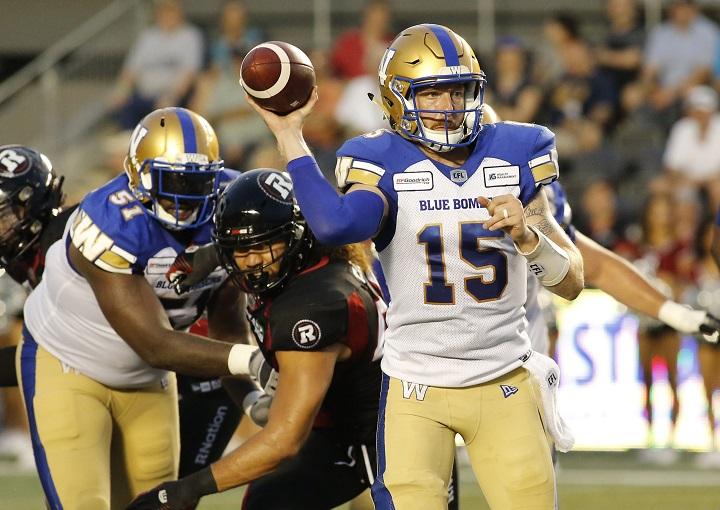 Winnipeg Blue Bombers quarterback Matt Nichols (15) throws the ball during second quarter CFL action against the Ottawa Redblacks in Ottawa on Friday, July 5, 2019.