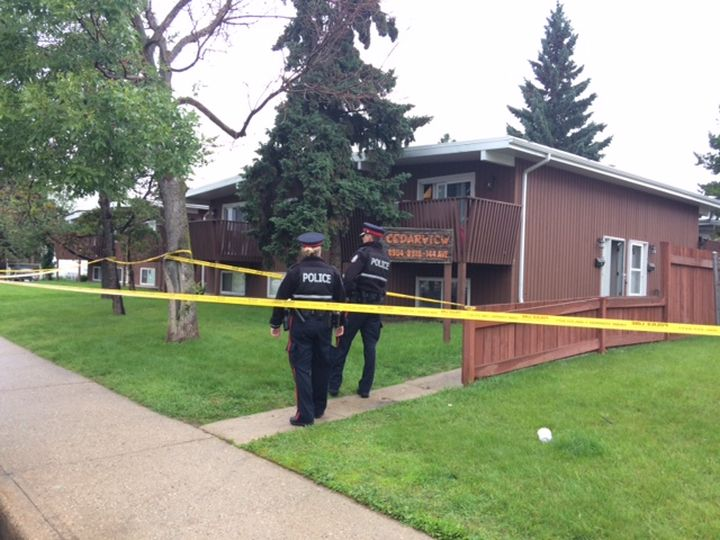 Edmonton police investigate a serious assault in the area of 144 Avenue and 89 Street Monday, July 8, 2019.