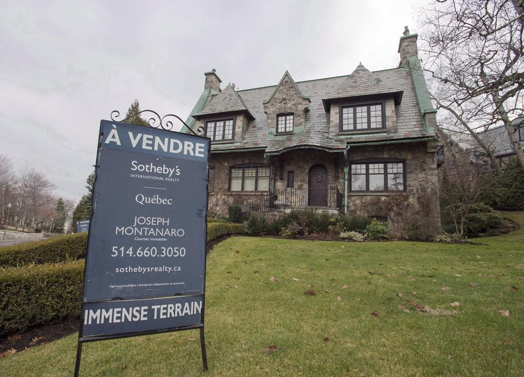 A house for sale in the Westmount suburb of Montreal is shown on December 11, 2015.