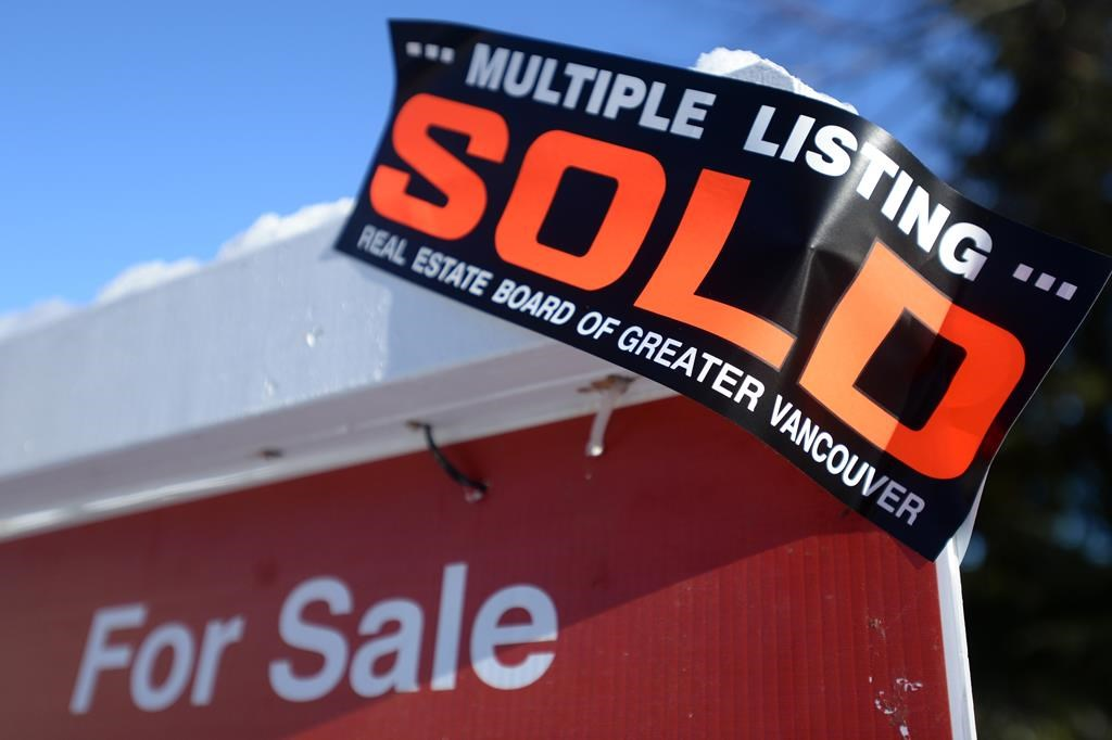 A real estate sold sign is shown outside a house in Vancouver, Tuesday, Jan.3, 2017. T.