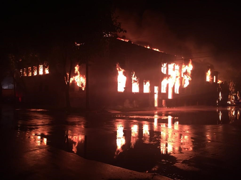 """Winnipeg Fire Paramedic Chief John Lane says major incidents like this warehouse fire on July 22, 2019 """"severely tax"""" their resources."""