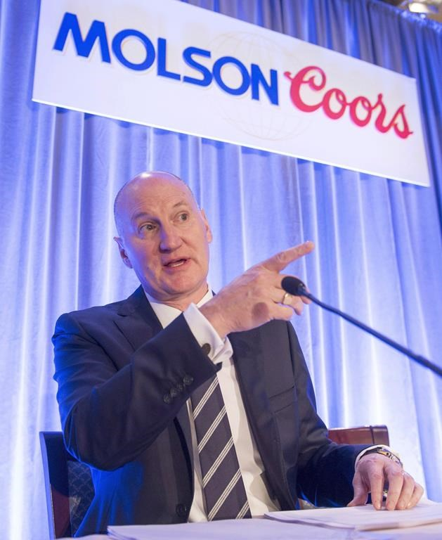 Molson Coors chief executive Mark R. Hunter gets set to start the company's annual meeting Wednesday, May 17, 2017 in Montreal.