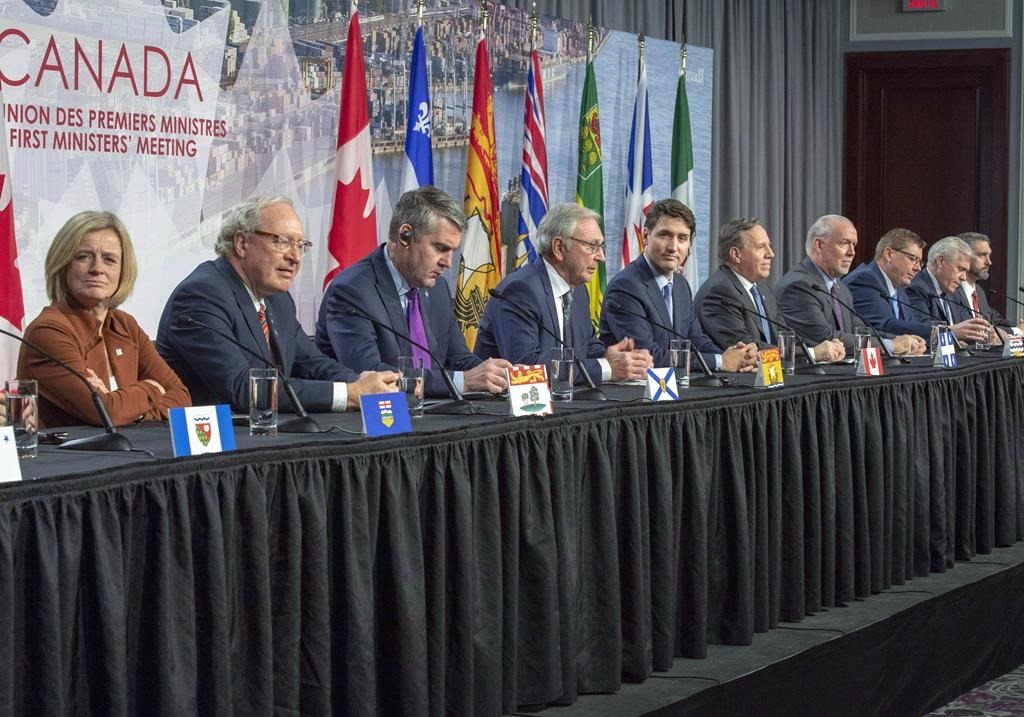 Canadian premiers and the Prime Minister speak to the media at the First Ministers closing news conference, Friday, December 7, 2018 in Montreal.