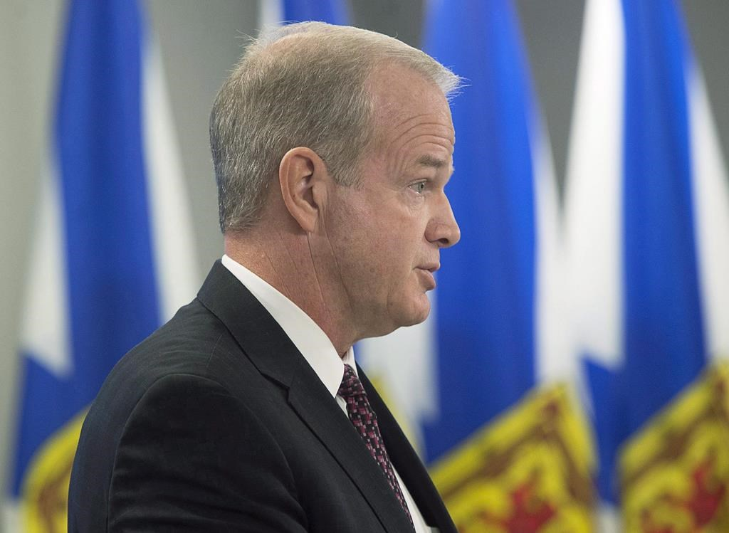 Justice Minister Mark Furey provides details about cannabis legalization at a news conference in Halifax on Dec. 7, 2017.