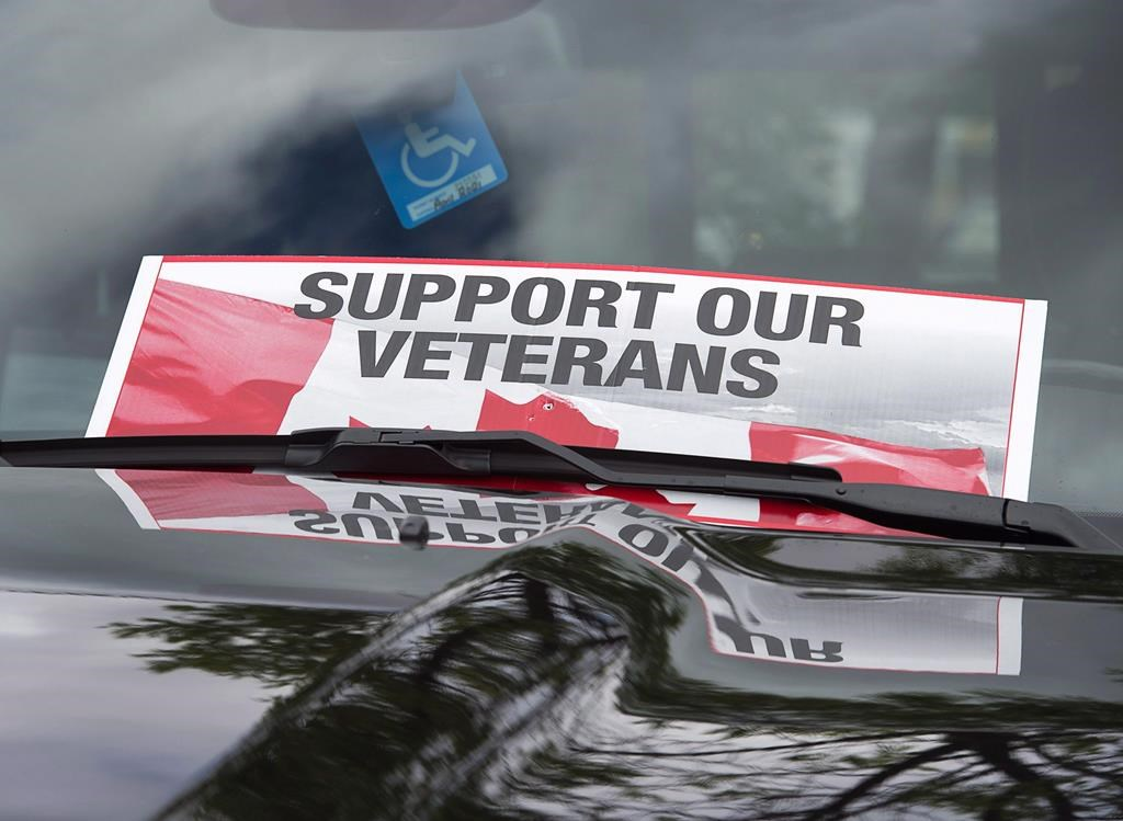 A sign is placed on a truck windshield outside the Veterans Affairs office in Halifax on Thursday, June 16, 2016.