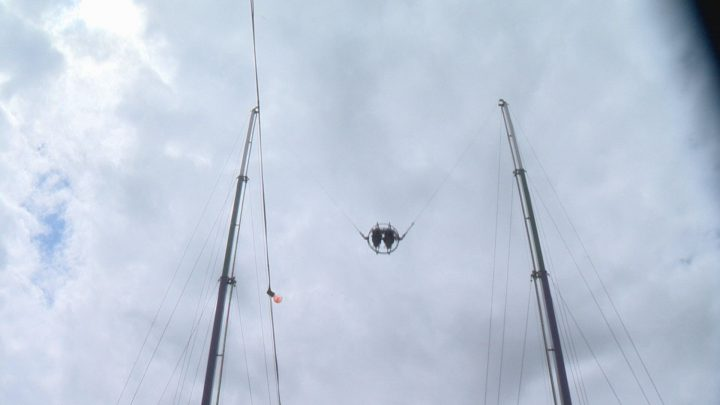 Thrill seekers ride the slingshot at Country Thunder near Craven, Sask.