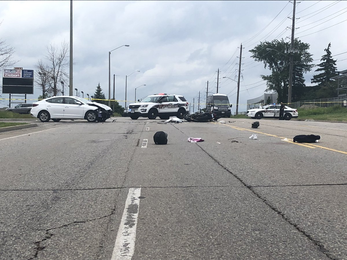 A motorcyclist was severely injured in a crash on Woodlawn Road on Tuesday.