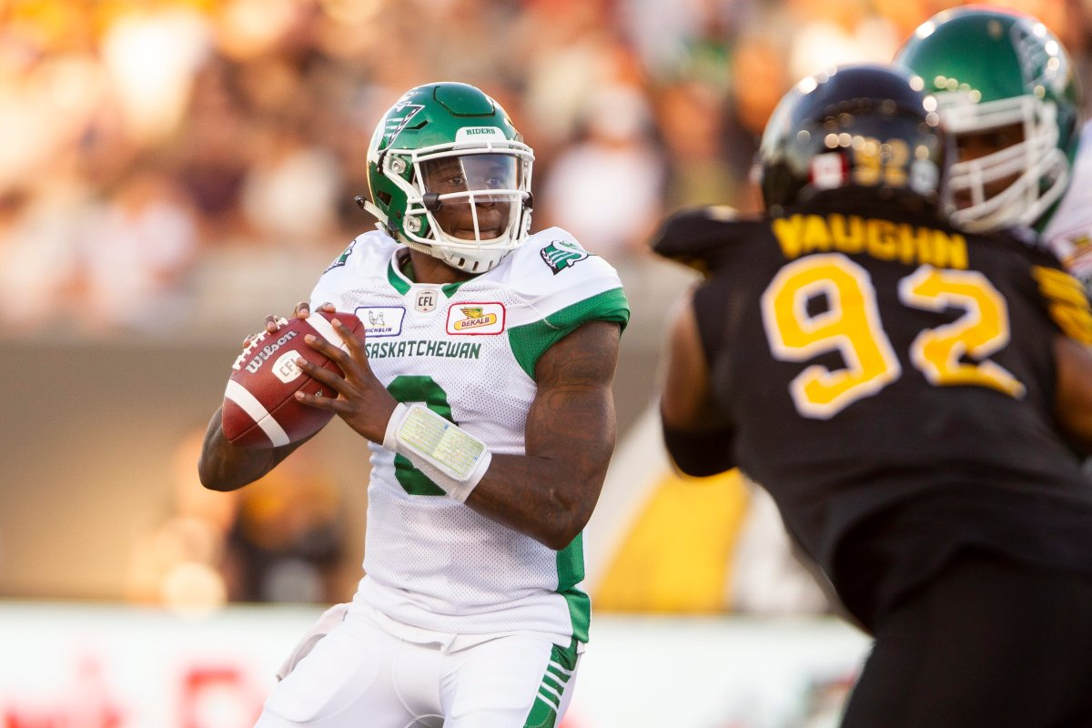 Saskatchewan Roughriders quarterback David Watford looks for a receiver during first-quarter CFL action against the Hamilton Tiger-Cats in Hamilton, Ont., on Thursday, July 19, 2018.