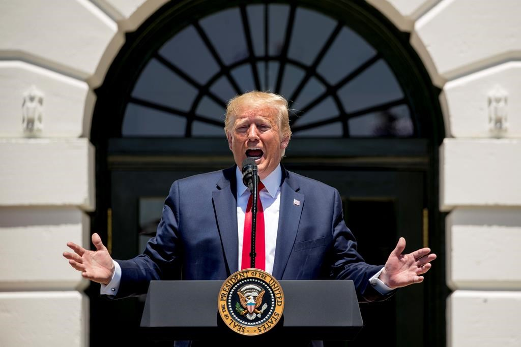 President Donald Trump speaks during a Made in America showcase on the South Lawn of the White House in Washington, Monday, July 15, 2019.