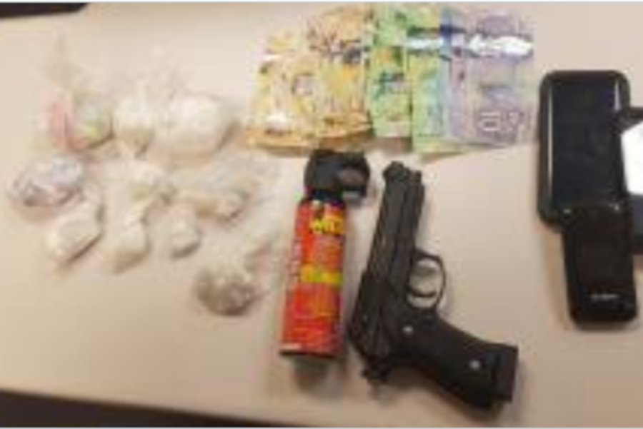 Waterloo Regional Police say they seized a quantity of drugs and weapons after pulling over the car.