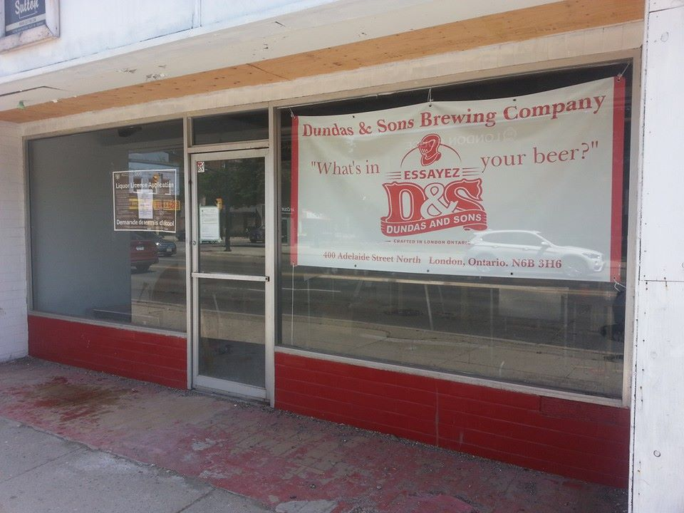 Dundas and Sons Brewing Company's storefront on Adelaide Street, south of Dundas Street.