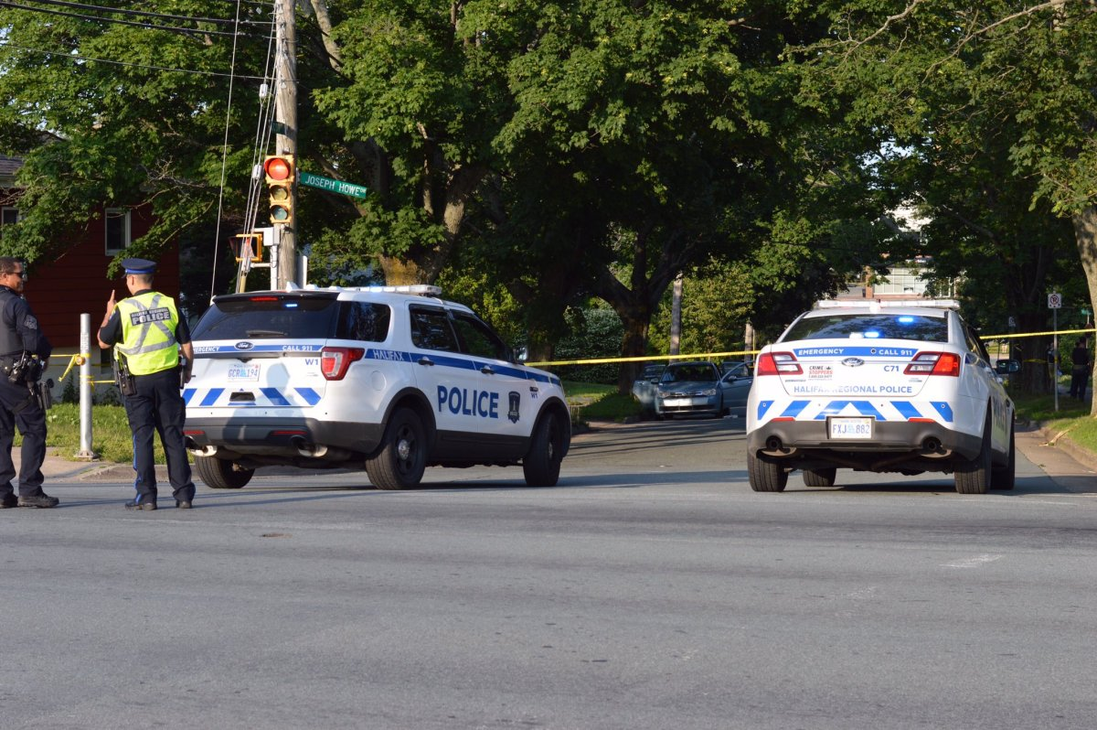 Halifax police secure the scene of a shooting at Scot Street and Joseph Howe Drive on July 26, 2019.