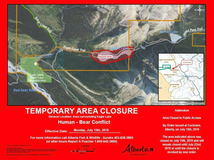 An area surrounding Eagle Lake in west-central Alberta has been closed to people because of bear activity, according to a post on Alberta Fish and Wildlife's Facebook page.
