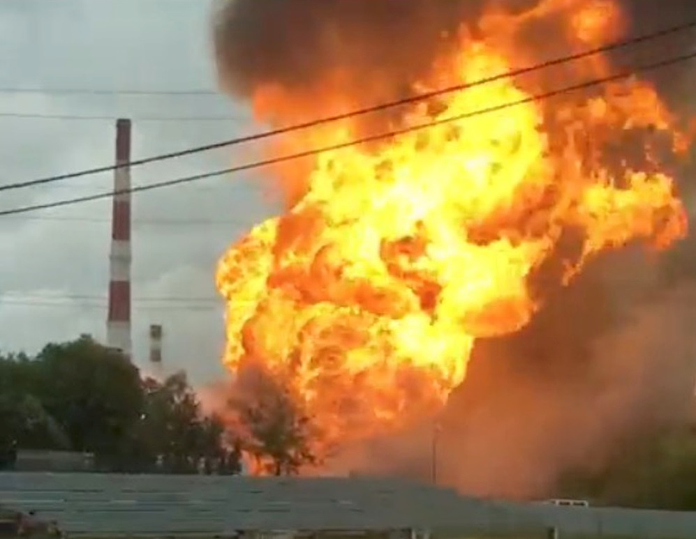 A still image taken from a video footage shows the fire at an electricity generating power station in the Moscow region, Russia July 11, 2019.