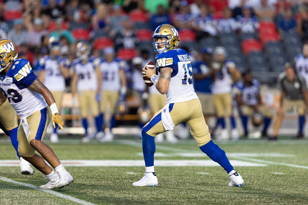 OTTAWA, ON - JULY 05: Winnipeg Blue Bombers quarterback Matt Nichols (15) looks to throw a pass during Canadian Football League action between the Winnipeg Blue Bombers and Ottawa Redblacks on July 5, 2019, at TD Place at Lansdowne Park in Ottawa, ON, Canada. (Photo by Richard A. Whittaker/Icon Sportswire via Getty Images).