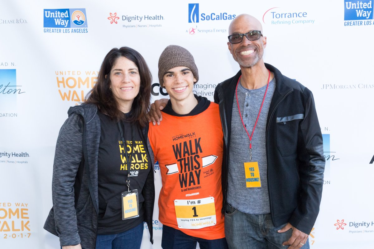 Libby Boyce, Actor Cameron Boyce, and Victor Boyce attend the United Way Celebrates 11th Annual HomeWalk To End Homelessness IN L.A. County at Los Angeles Grand Park on November 18, 2017 in Los Angeles, California.