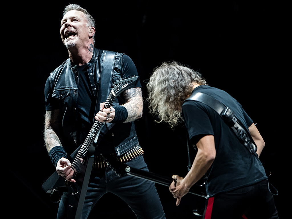 James Hetfield and Kirk Hammett (R) of Metallica perform during the 'WorldWired' tour at SAP Arena on Feb. 16, 2018 in Mannheim, Germany.