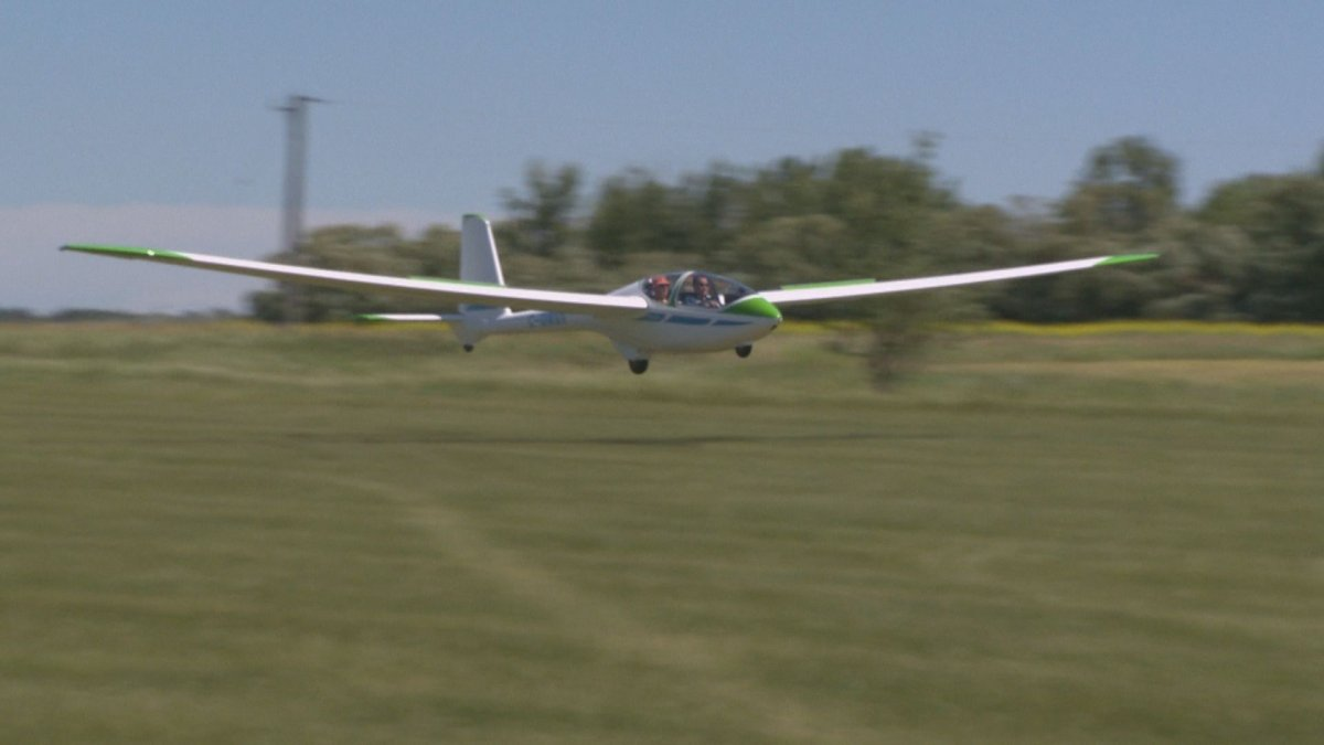 A glider lands near Starbuck, Man., on July 14, 2019.