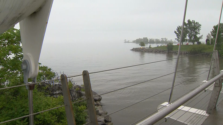 Photo of Lake Ontario in Etobicoke after heavy rain fell causing localized flooding and high water levels. (July 17, 2019).