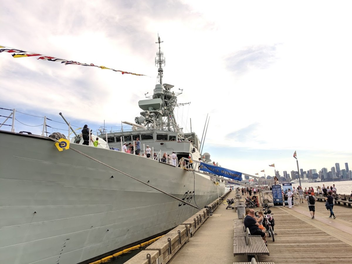 HMCS Winnipeg seen in North Vancouver on July 1, 2019. Crew on the ship have found an novel way to get exercise and raise money for a local charity.
