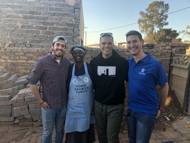 From left to right, Roderick Mackinnon, school principal Maria Nthalla, Thomas Prévost and director of Cross Connect Kyle Tolman. Prévost and Mackinnon are raising funds for Nthalla's early childhood develpment centre in Munsieville Township, South Africa.
