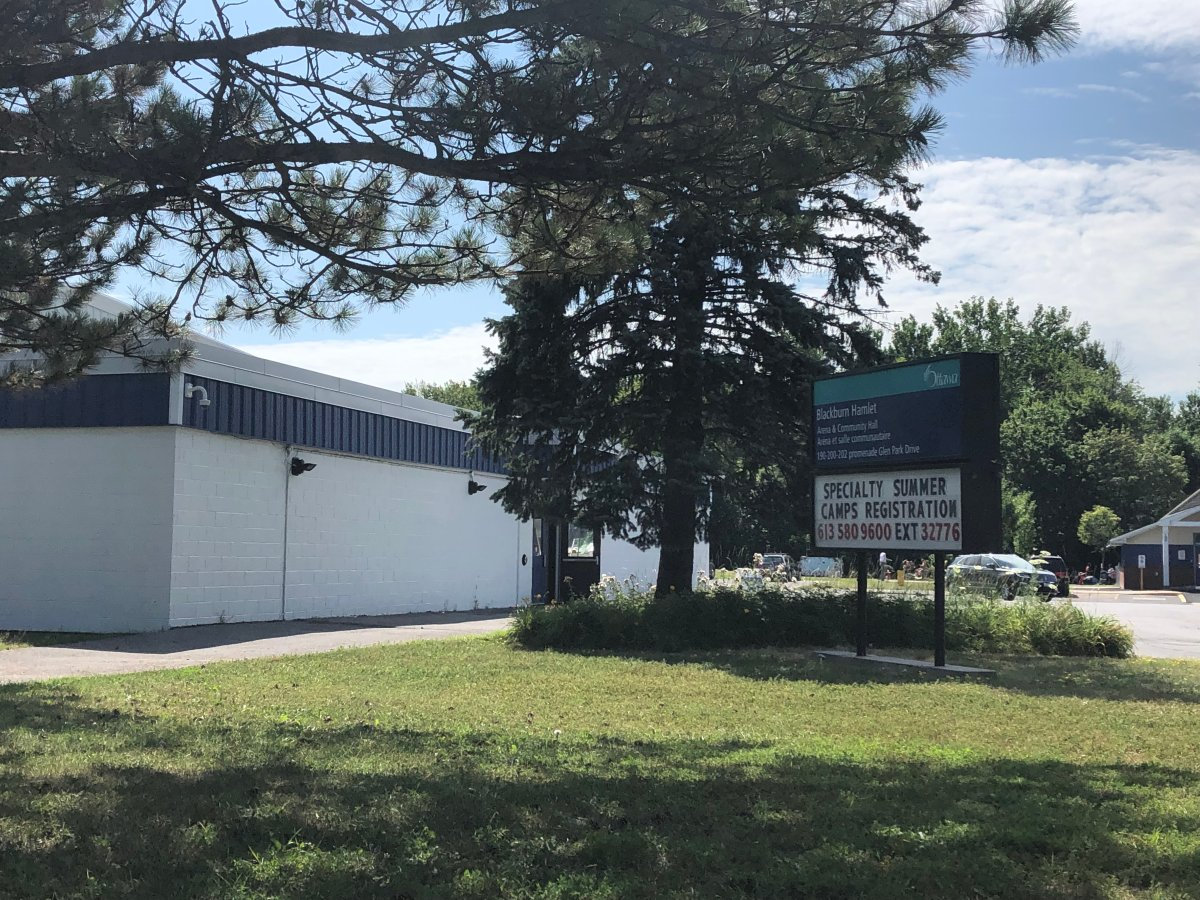 An image of the Blackburn Arena in Ottawa's east end, taken on July 23, 2019. The federal government announced Tuesday it's contributing $1 million to the arena's planned expansion and upgrade, which will include new accessible change rooms and bleachers.