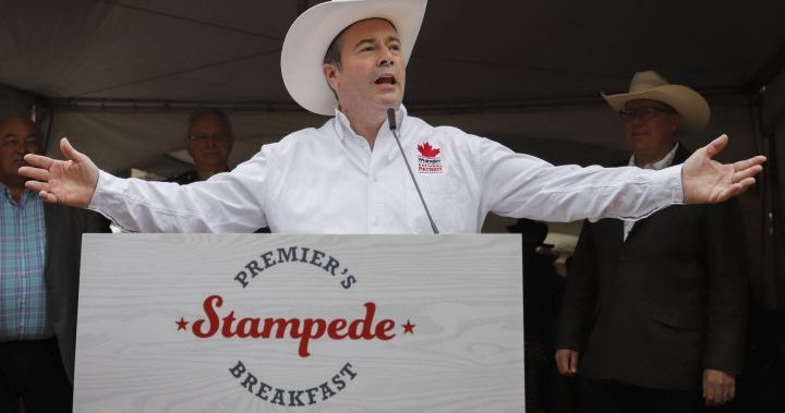 Protesters target Kenney at Calgary Stampede over gay-straight alliances |  Globalnews.ca