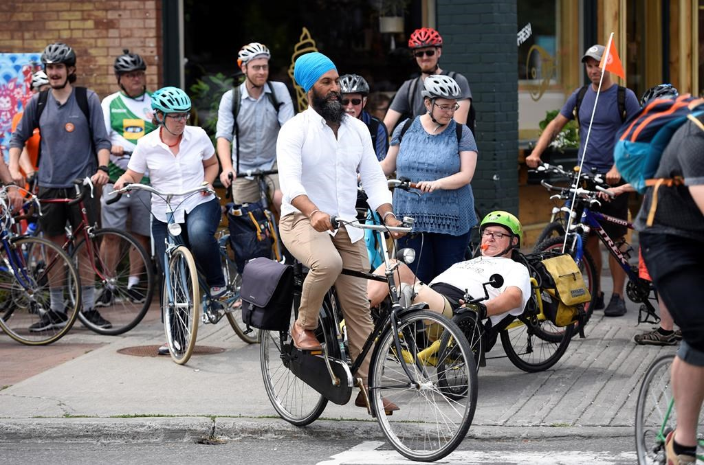 NDP Leader Jagmeet Singh participates in a group bike ride with Ottawa Centre residents after announcing his party's vision for a national cycling strategy in Ottawa on Thursday, July 11, 2019.