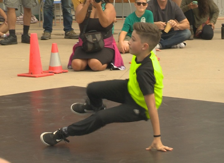 A youth participates in breakdancing at the fourth annual Fresh Coast Festival in Kelowna on Saturday.
