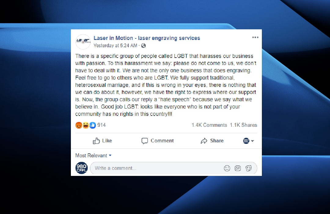 A Facebook post published on Monday announcing Laser in Motion's anti-LGBTQ2 stance.