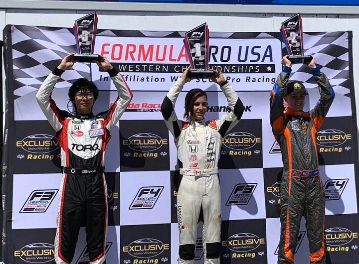 Marco Kacic of West Kelowna, middle, holds his first-place trophy after winning Round 8 of the 2019 F4 Formula Pro USA Western Championship in Sonoma, Calif., on Sunday. Race Dykstra of Colorado, right, placed second, with Kyle Loh of California, left, placing third.