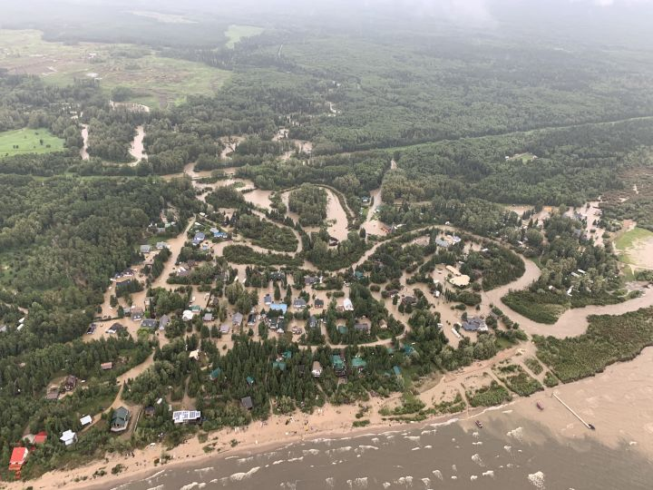 An aerial photo of the flooding in the Marten Beach area on July 25, 2019.