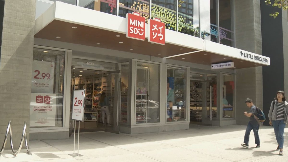 Discount retailer Miniso, seen in Vancouver on July 14, 2019.