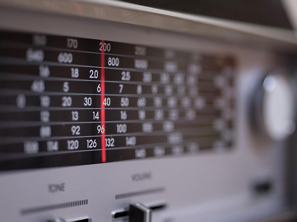 A close-up of a radio.