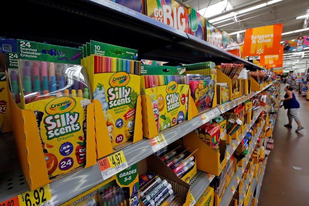 School supplies on store shelves.