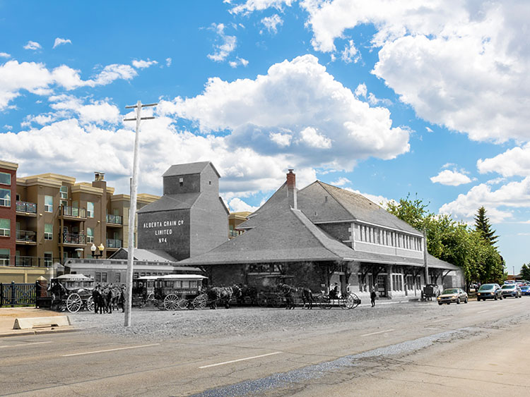 A superimposed photo shows what Gateway Boulevard just south of Whyte Avenue used to look like, compared to now.