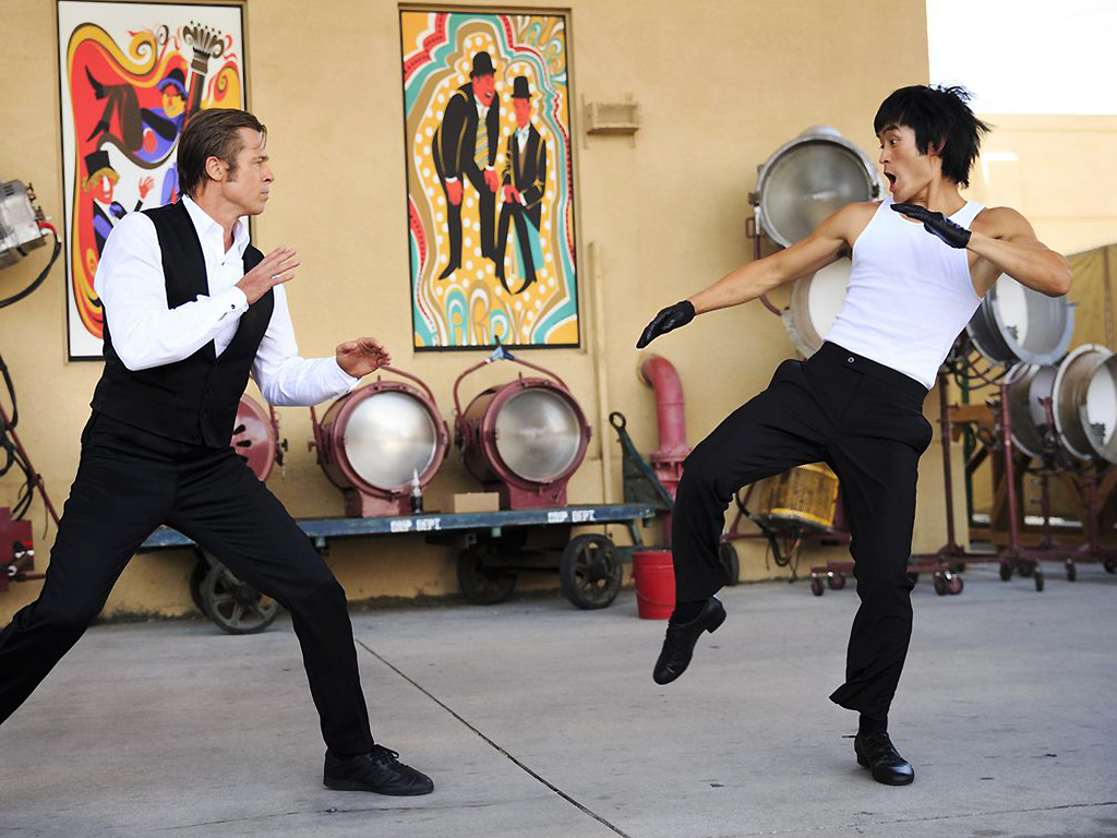(L-R) Brad Pitt as Cliff Booth and Mike Moh as Bruce Lee in Quentin Tarantino's ninth film, 'Once Upon a Time... in Hollywood.'.