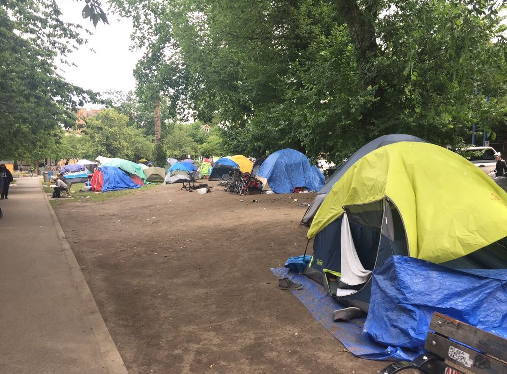 Tents set up within Vancouver's Oppenheimer Park on Friday, June 28, 2019.